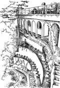 Lépcsők és honos növények a meredek rézsűn (Balatongyörök)